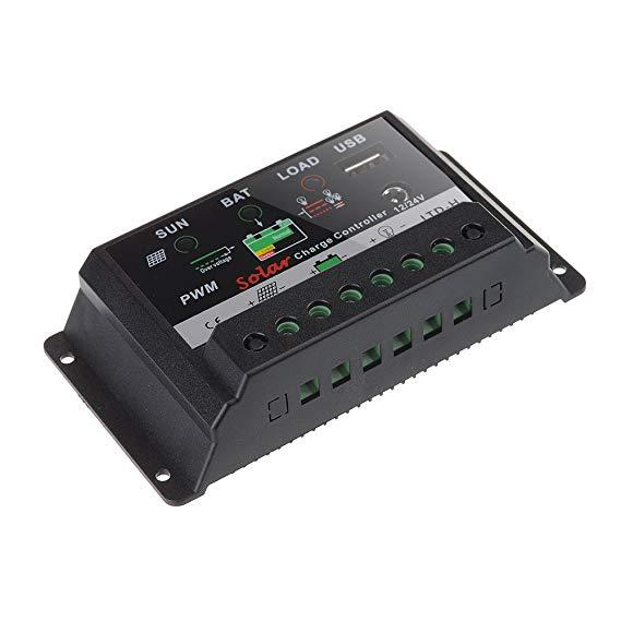Bluefire PWM 30 A Digital Solar Charge Controller Điều chỉnh 12 V 24 V với USB / DC Charger Port 30A