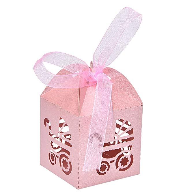 50 CÁI cắt laser bé vận chuyển kẹo box bomboniere quà tặng kẹo hộp baby shower đảng trang trí, hồng