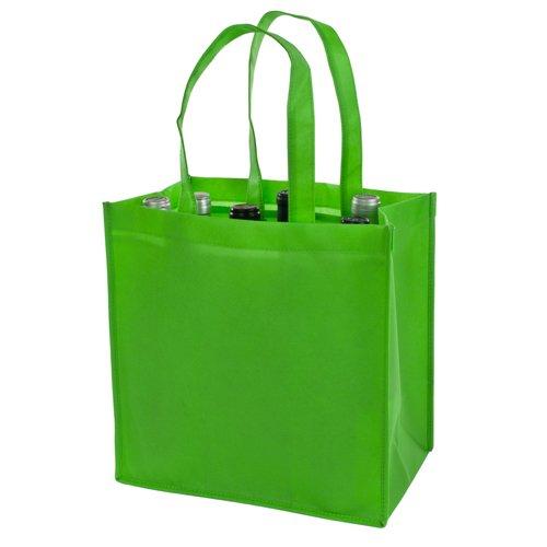 TÚI THÚ KHÔNG dệt 6 chai, màu xanh lá cây