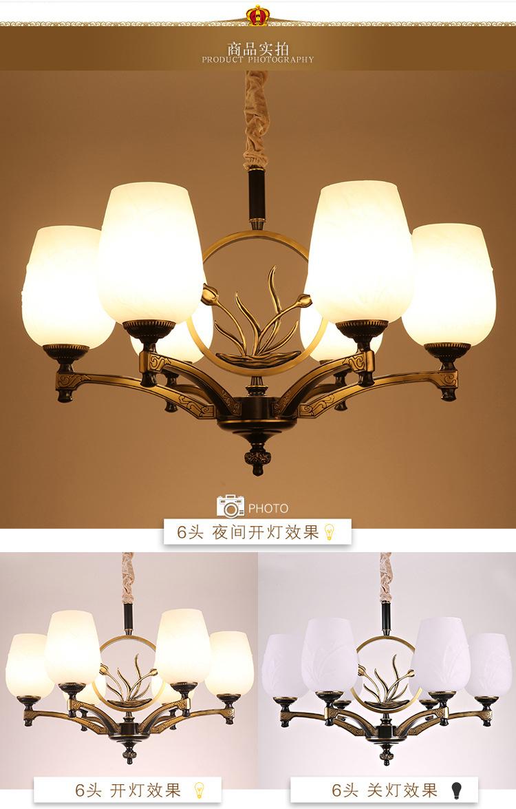 Đèn lồng đèn Trung Quốc đồng mới hoàn toàn mới Trung Quốc phong phòng khách hàng LED đèn chùm hoa hu