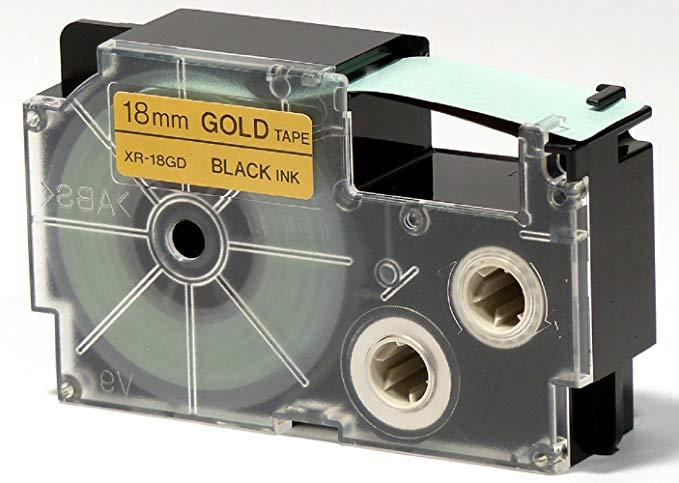 Casio EZ - Máy in nhãn XR - nhãn 18gd1 với selbsthaftend vàng đen 18mm x 8.0m