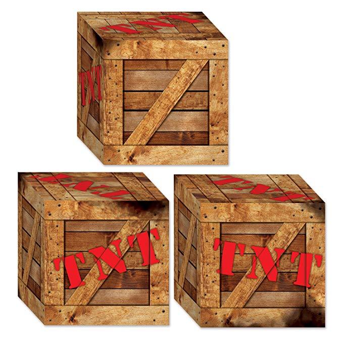 Beistle 54729 TNT hộp gỗ hộp kẹo 21.59 X 27.94 cm nhiều màu