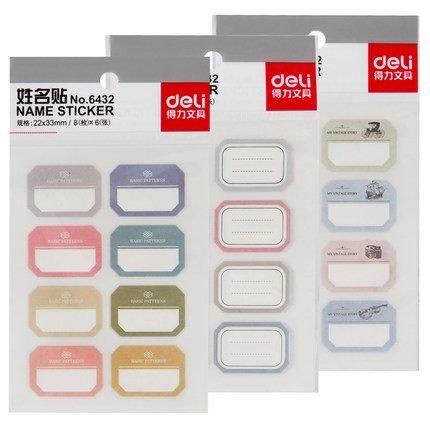 Deli 6432 tên Sinh Viên tên màu stickers Trống dán tên phân loại sticker