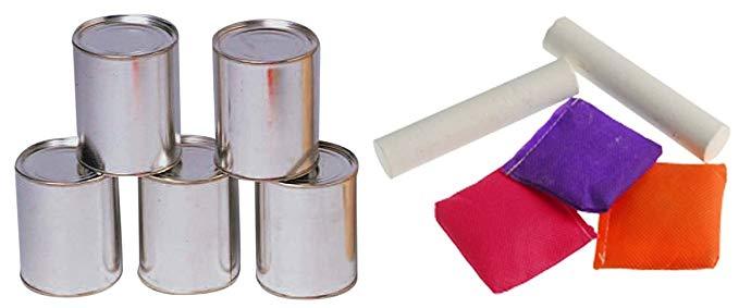 Carnival có thể ném trò chơi - bao gồm 6 lon kim loại 3 túi và phấn