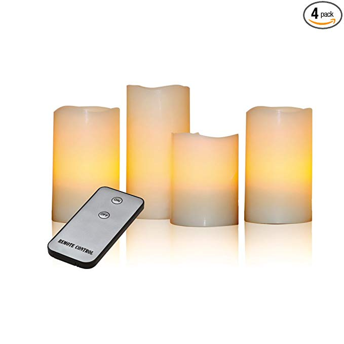 Đèn LED X4-LIFE Đèn sáp ong tinh khiết với điều khiển từ xa / 4 gói / kem