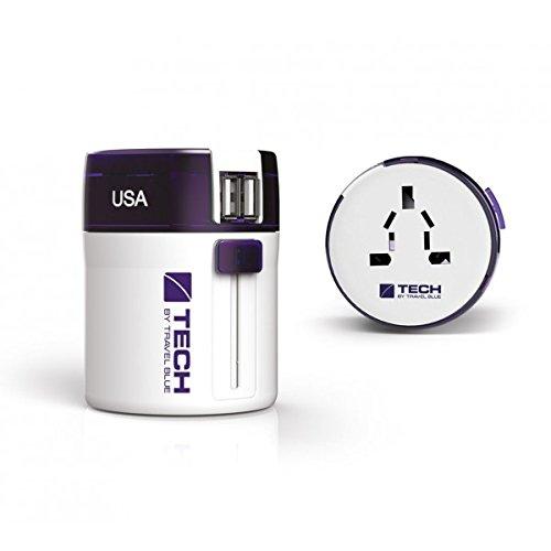 TravelBlue Du Lịch Màu Xanh Trung Tính Toàn Cầu Pass-through Ổ Cắm Cắm Kép USB Power Charger Đi Du L