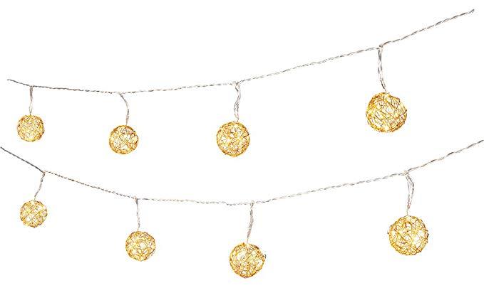 TIB heyne người hạnh phúc 44897 LED cổ tích chuỗi, WIRE bóng, vàng 10 piece set, 50 LED, trắng ấm, b