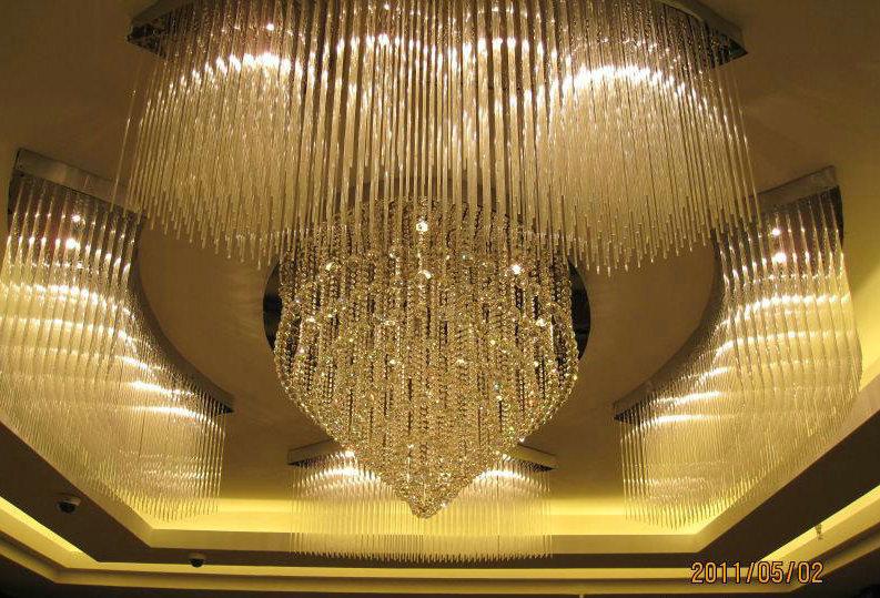 Nhà máy sản xuất hiện đại trong phòng khách, xa hoa đèn pha lê tròn 3 mét LED đèn phòng khách hút đè