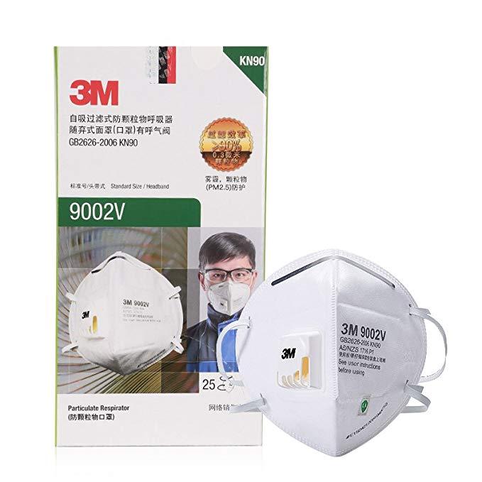 3M mặt nạ 9002V KN90 cấp độ bảo vệ 90% hiệu quả lọc hơi thở van đầu gắn trên bao bì cá nhân 25 / hộp