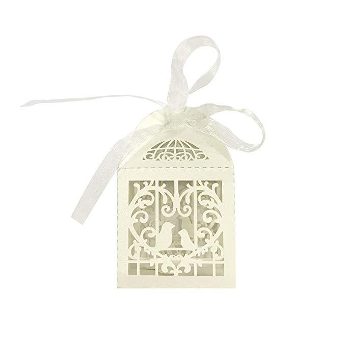 Có thể được đóng gói tình yêu chim hộp kẹo đám cưới hộp quà tặng với ribbon (bộ 50)