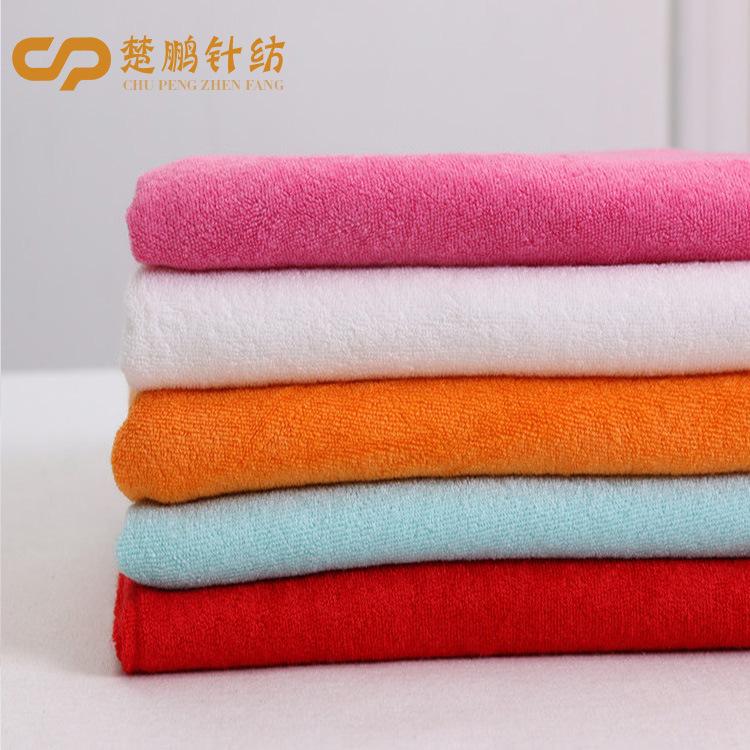 Tại chỗ căng một mặt vải khăn tốt sợi ngắn terry polyester vải terry Bib sợi ngang dệt kim khăn vải