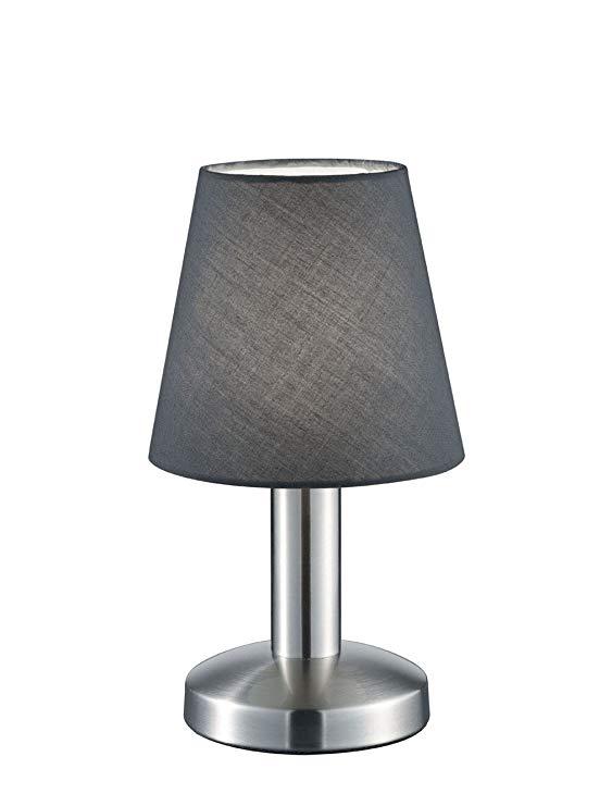 Đèn bàn ba đèn nickel matt, chụp đèn vải, trắng 599600101 Schirm grau 0