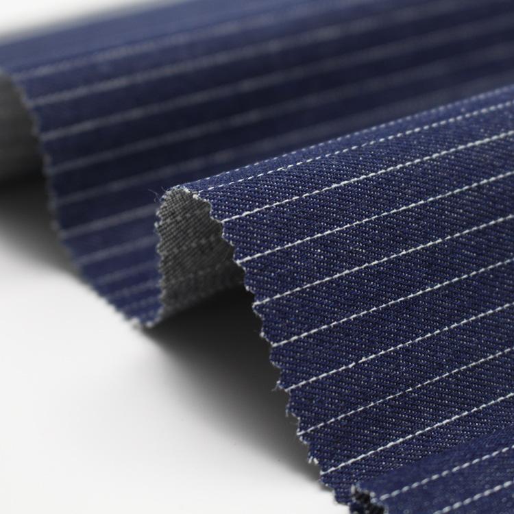 Nhà máy trực tiếp sọc màu xanh và trắng mà không cần vải denim đàn hồi 12 * 12 cotton twill denim áo