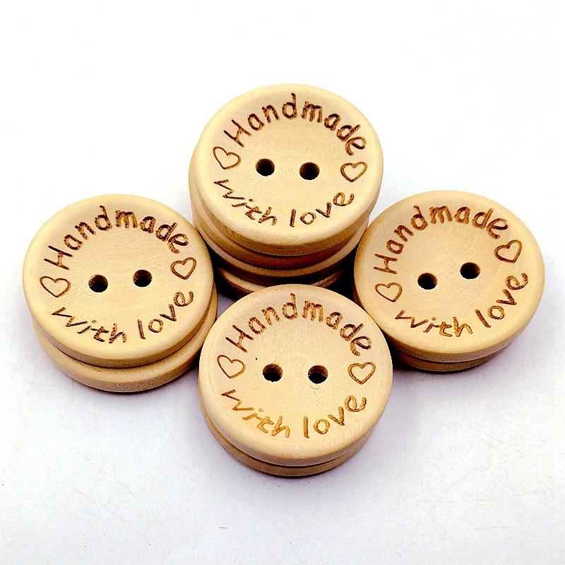 15/20 / 25mm vòng nút khắc laser tình yêu với tình yêu bằng gỗ nút 100 gói