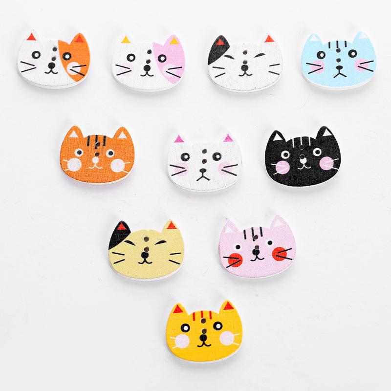 10 cái / gói Màu mèo đầu sơn gỗ nút trẻ em phim hoạt hình dễ thương quần áo khóa handmade TỰ LÀM trẻ