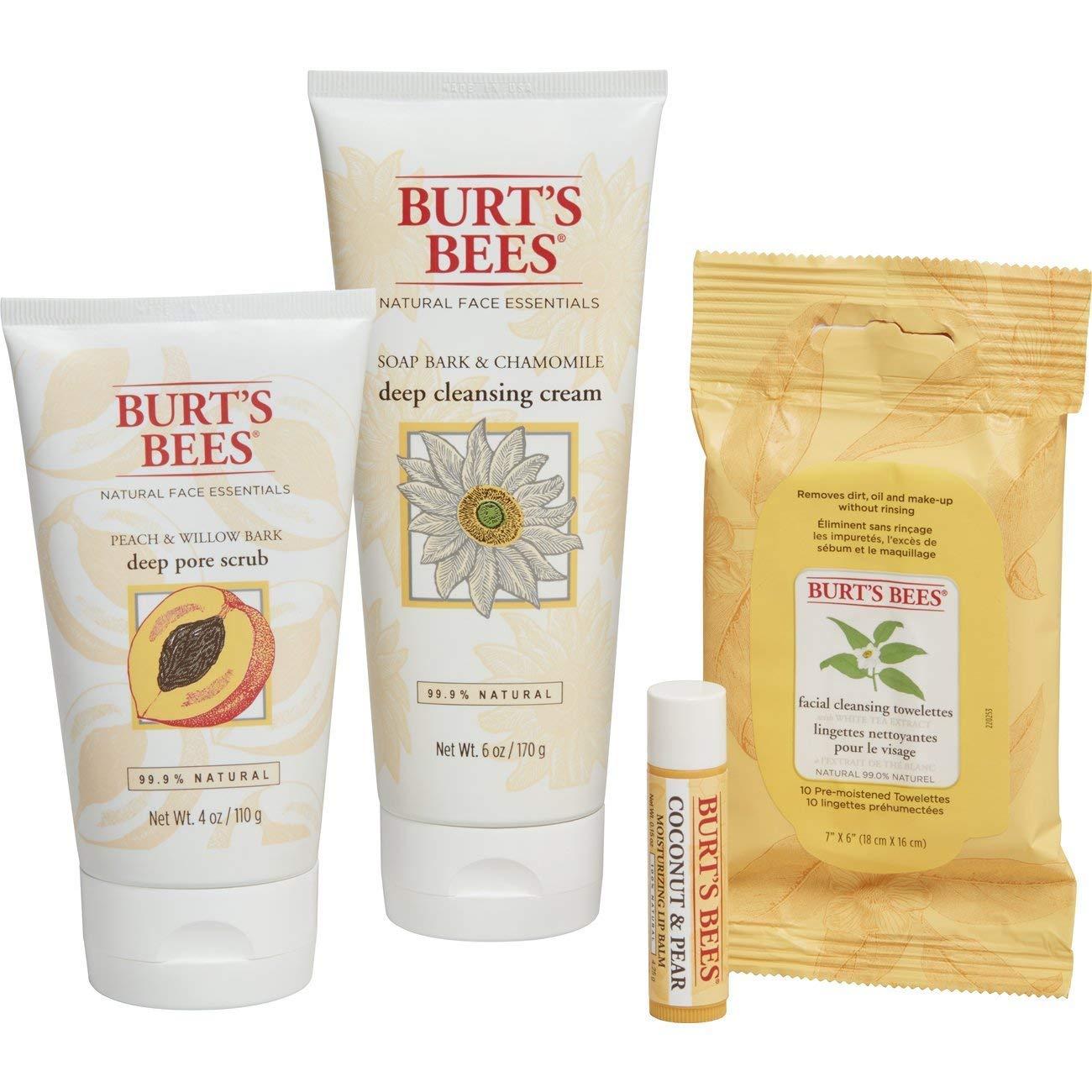 Burt's Bees FACE thiết yếu ngày Lễ bộ quà tặng 4 làn da. Sản phẩm – sâu sâu lỗ chân lông kem và sữa