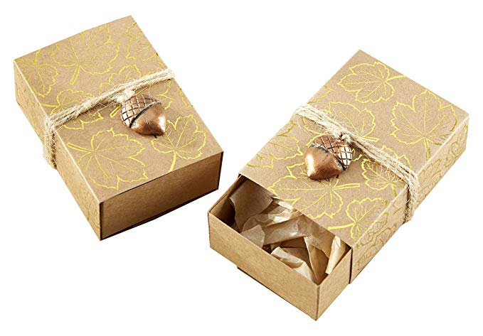 KATE Aspen nhôm lá mỏng in hộp kẹo da, đồ trang sức acorn (24 bộ), vàng / đồng