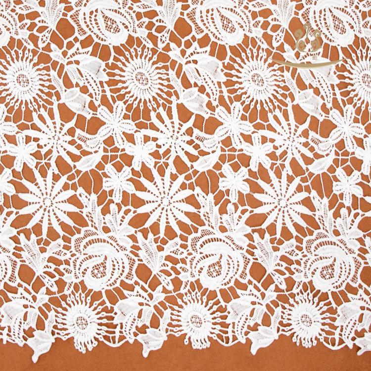 Chất lượng cao nhỏ hoa rỗng ren nước hòa tan ren vải 125cm chiều rộng nhỏ tươi sữa lụa thêu vải