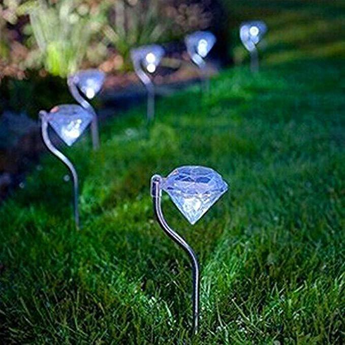 Kingso LED năng lượng mặt trời kim cương vườn cỏ con đường nông minh bạch 4 cái