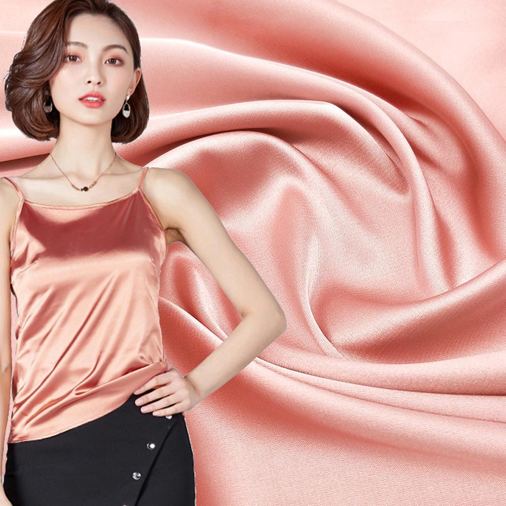 Mô phỏng lụa satin satin vải ánh sáng polyester cao satin đàn hồi vải thời trang váy đồ ngủ tại chỗ