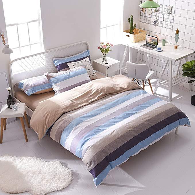 MAMOER Mamor đơn giản Một bông B rửa bông bốn mảnh đôi 1,5 m 1,8 giường Sọc hoa giường đơn 1.2 m giư