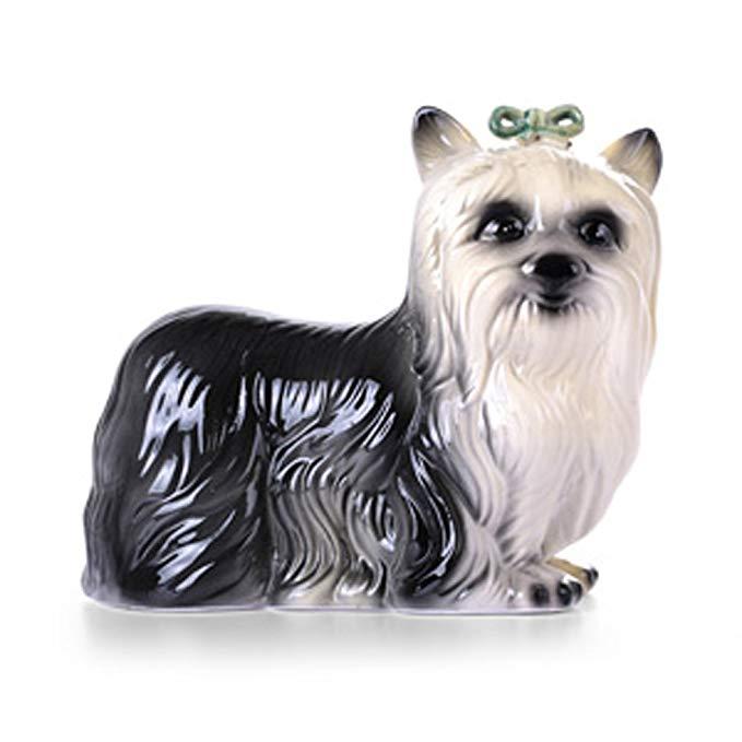 LÊN Xishang Tăng Gốm Màu Xanh Lá Cây Bow Dog Bé Pet Trang Trí Dài 19.5 cm