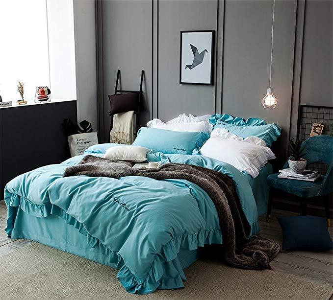 Hoa Kỳ mittaGong Một mảnh phong tình yêu Ren dày chà nhám giường cotton bốn mảnh bộ 1.5 / 1.8 / 2.0