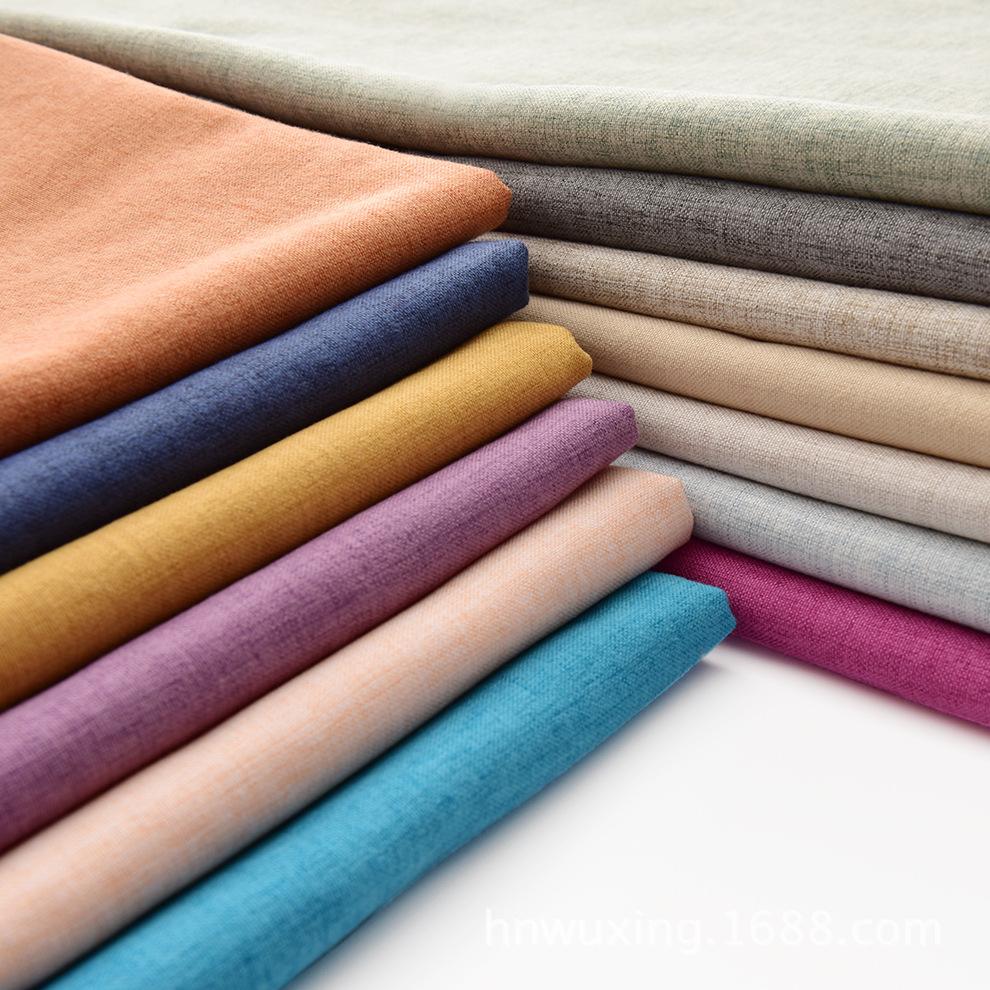 Sản phẩm mới chà nhám bông và vải lanh pha trộn sofa vải Polyester cotton giả linen mềm túi nền tườn