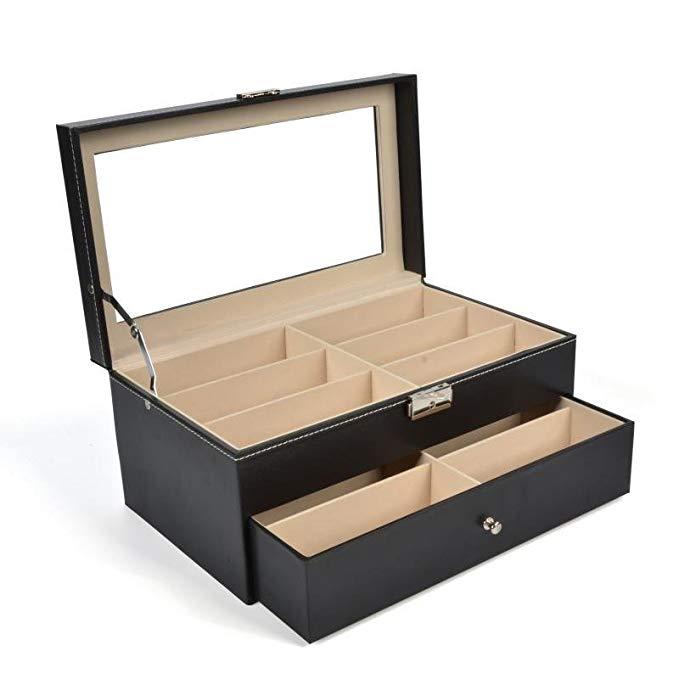 Yeetech Ekoda hai lớp kính mát hộp lưu trữ PU da mỹ phẩm hoàn thiện hộp với ngăn kéo lật trong suốt