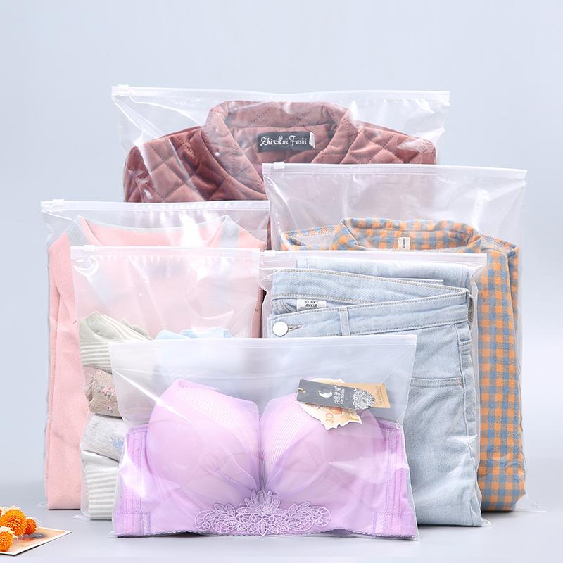 Nhà máy bán buôn eva trong suốt matte quần áo dây kéo túi đồ lót đồ lót vớ lưu trữ ziplock bao bì tù
