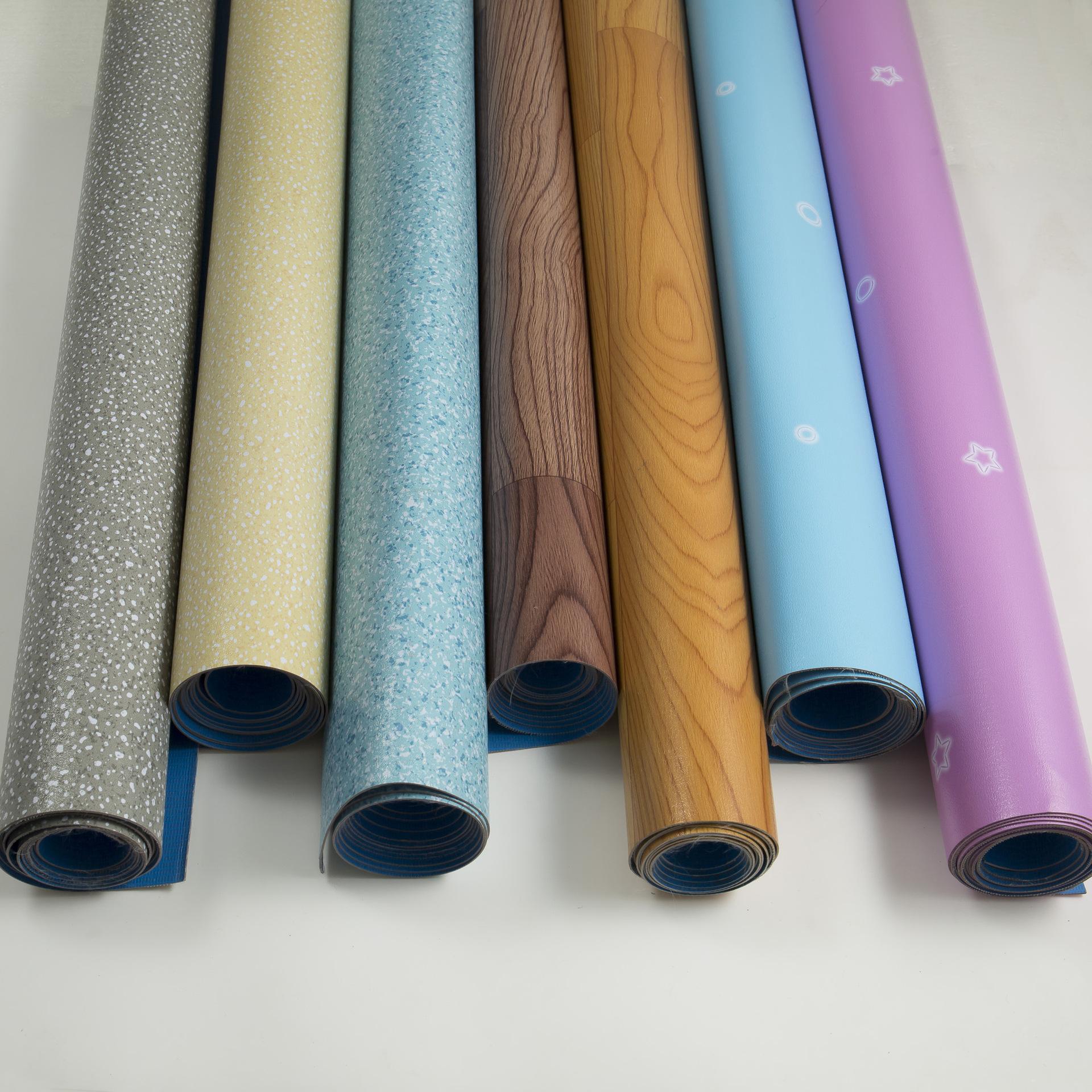 Sàn da PVC sàn da rắn nhựa kỹ thuật da dày mặc kháng không thấm nước không trượt nhà máy mẫu giáo ke