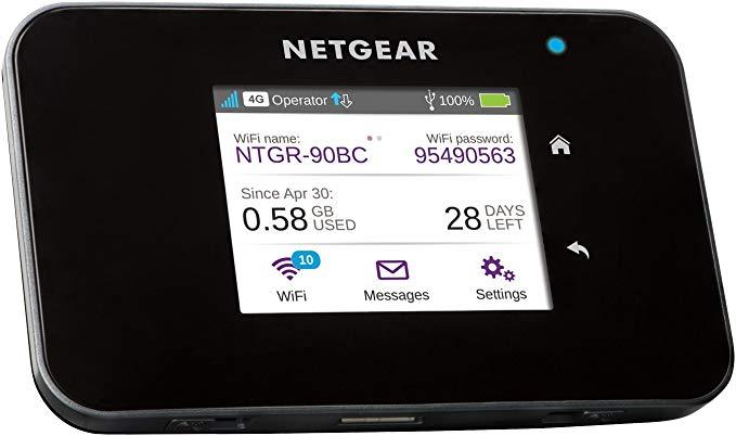 NETGEAR AC810-100EUS Aircard Wi-Fi điểm truy cập băng rộng di động với cực nhanh 4G LTE 11 lớp, mở k