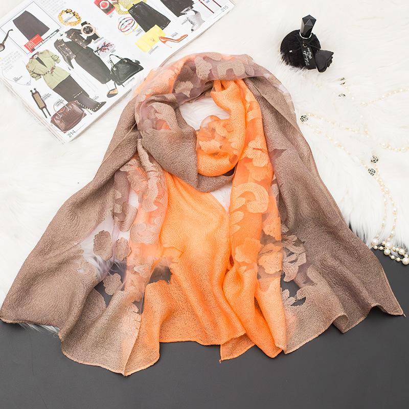 New treo nhuộm ren khăn lụa cắt hoa gradient sợi khăn hollow organza cotton linen khăn kem chống nắn