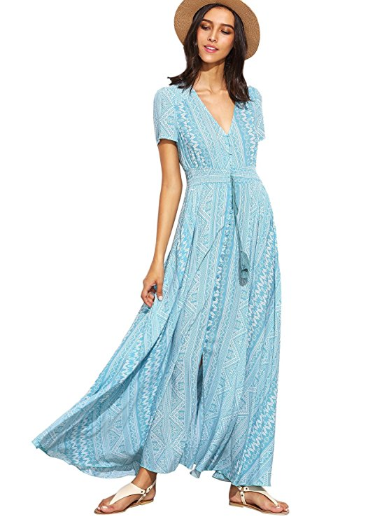 Milumia của phụ nữ nút chia hoa in thanh lịch bên váy