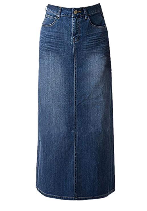Của phụ nữ dài váy bút chì jeans skirt-eo cao Một váy dài váy denim cho ladies-blue jeans váy