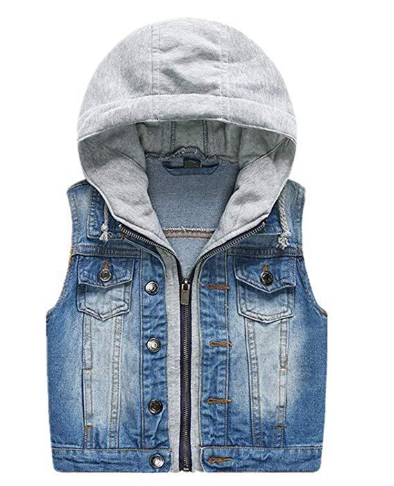 Áo khoác jean dây kéo trùm đầu cho trẻ từ 3 - 10 LJYH