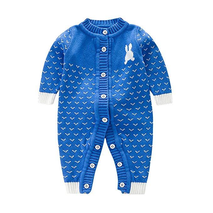 Bộ áo len xanh tay dài liền quần hình thỏ con
