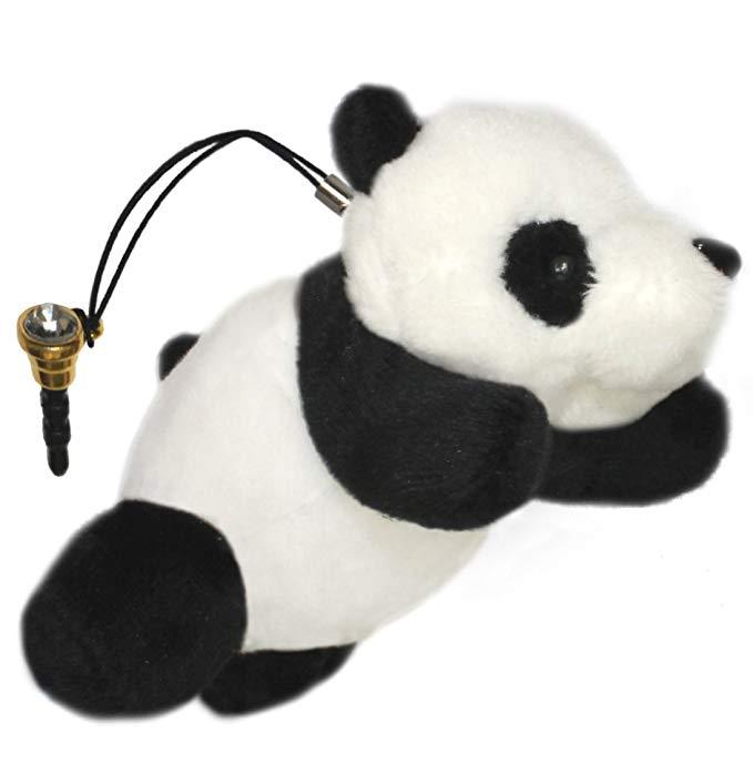 Lucore mini 10.2 cm hạnh phúc panda doll plush động vật đồ chơi đồ trang sức điện thoại & ví trang t