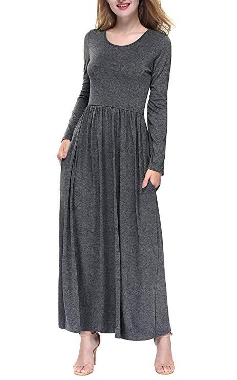 Dkbaya của phụ nữ màu rắn dài tay lỏng xếp li ăn mặc giản dị ăn mặc túi