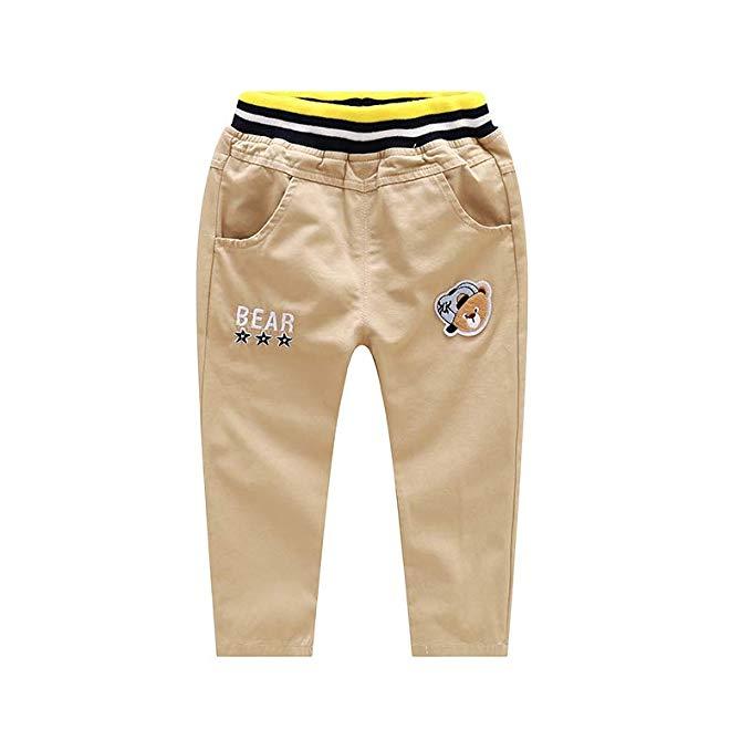 Quần kaki lưng thun màu vàng nâu, gấu quần caro Tang Wei