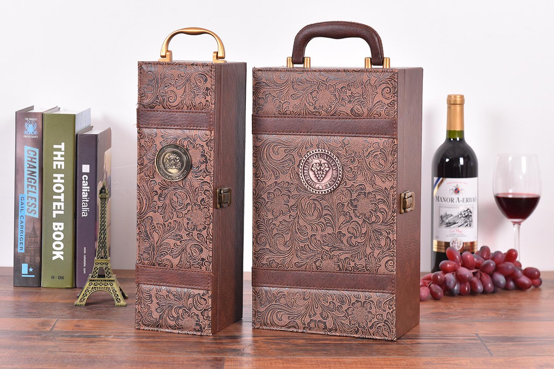 Tại chỗ phượng đuôi đôi rượu vang đỏ da hộp rượu vang bao bì hộp duy nhất đôi da hộp quà tặng tùy ch