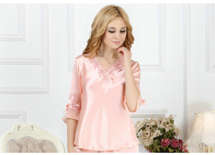 Support for genuine silk pajamas, two sets of female spring summer silk silk silk wedding bride wedd
