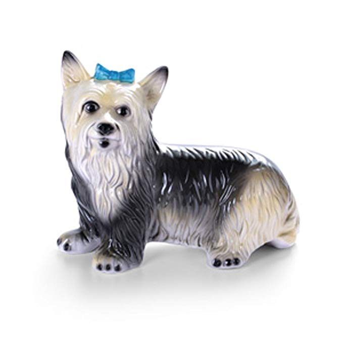 LVER Xishang Rose Gốm Trang Trí Trong Nhà Thủ Công Mỹ Nghệ Xanh Bow Dog Bé Pet Trang Trí Dài 30 cm B
