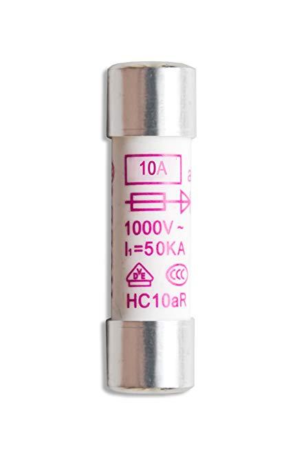 Đỉnh Tech P 7530 Đặt cầu chì gốm, 10 MA / 1000 V, 10,3 X 38 mm, Vạn năng, 10 miếng