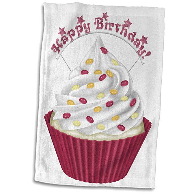 3dRose Anne Marie Baugh - Minh hoạ - Dễ thương Pink Happy Birthday Cake Illustration - Khăn