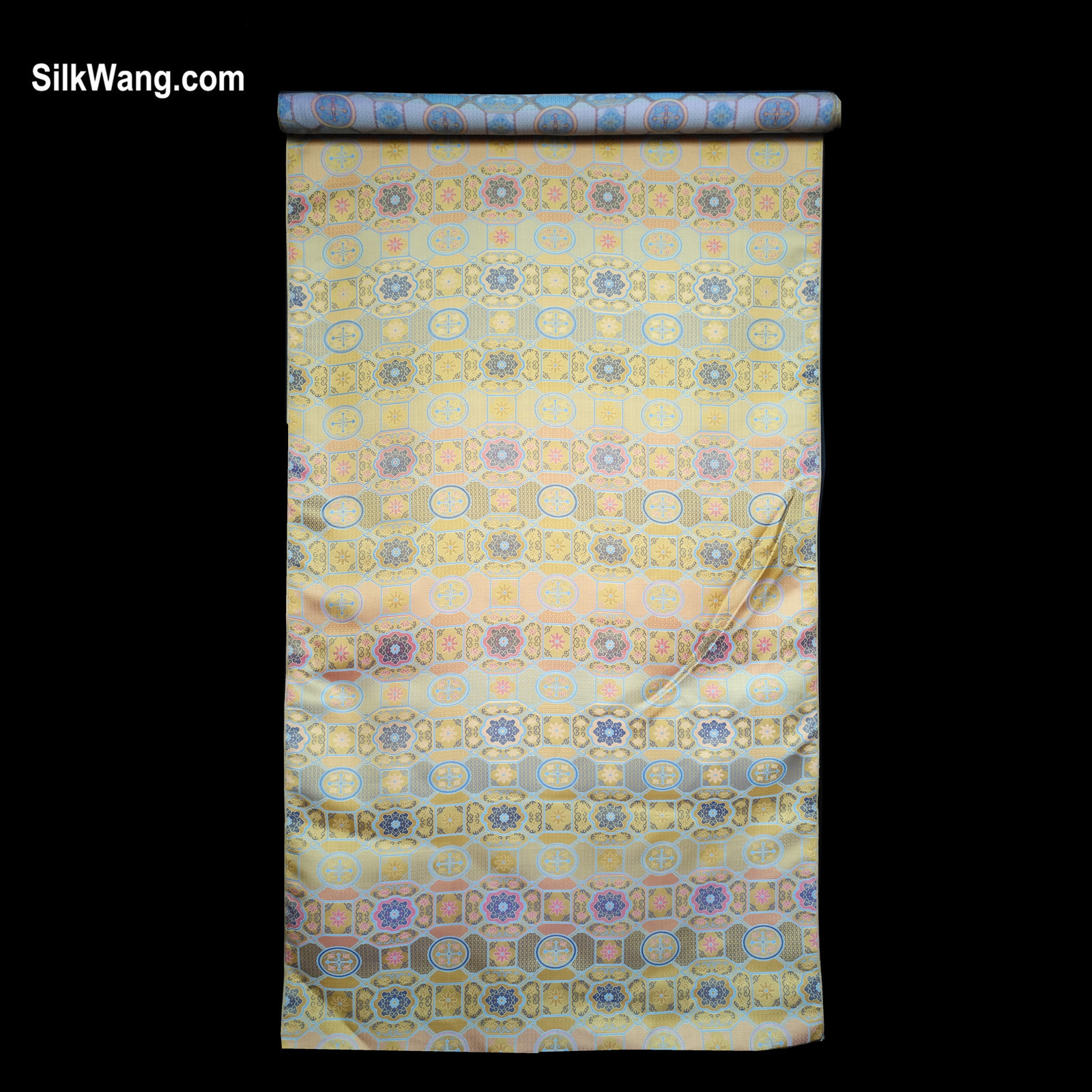 Silk, brocade, fabric, gold, yellow, blue, pink, geometric, pattern, and mixed flowers.