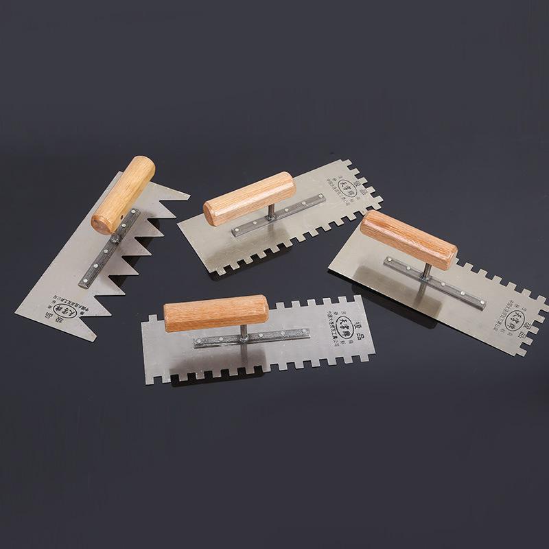 Nhà máy trực tiếp yaton răng cưa slab 60 thép tay cầm bằng gỗ dày trái răng bùn trowel bùn thợ thủ c