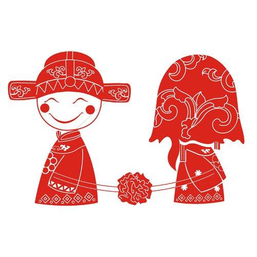 Tranh dán tường hình cô dâu chú rể đỏ EMIT