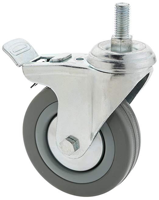 Steelex D2602 Caster cao su màu xám 4 inch, xoay với phanh đôi