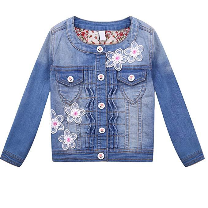 Áo khoác jean xanh thêu hoa cho bé gái Dr. Barra